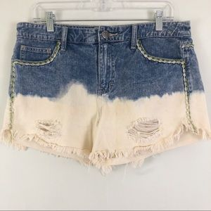 Free People Boho High Rise Distressed Shorts Sz 29